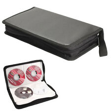 80 Disc CD Holder DVD Case Storage Wallet VCD Organizer Faux Leather Zipper Bag