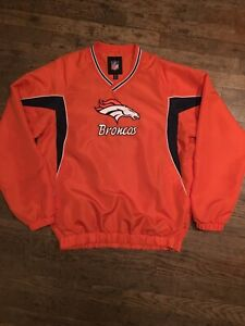 Vintage Denver Broncos Orange Blue Poly V-Neck Pullover Warmup Jacket Mens L NFL