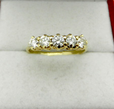 Vintage 14k Yellow Gold Natural 5 Diamonds 0.75ctw Anniversary Ring size 7.5