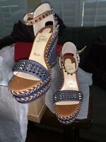 Christian Louboutin Blue Madmonica 120MM Sandals Espadrilles New