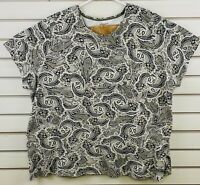 Womens 3X Croft Barrow Classic Tee Multicolor Paisley Short Sleeve Top Shirt