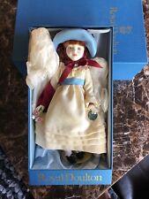 Vintage 1980s Royal Doulton Nisbet Doll - White dress, blue hat, purple ribbon
