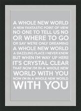 Whole New World Framed Lyrics - Grey - A3 Black Frame - Great Valentine's Gift