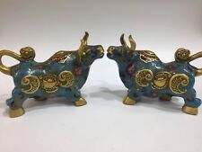A pair Chinese Old Cloisonne handmade Carved cow statue YR69