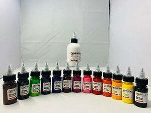 Starbrite Tattoo Ink Primary Color Set Red, Yellow, Tribal Black, Brown Blue USA