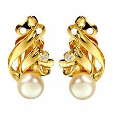 Fresh Water Pearl Gold Vermeil 925 Sterling Silver Clip On Bridal Earrings