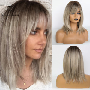 Brown Roots Ombre Ash Blonde Synthetic Hair Wigs for Women Short BoB Layered Wig