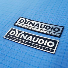 2 x DYNAUDIO - Metallic Case Logo Sticker Badge - 2.75 inch/1 inch - 70 mm/20 mm