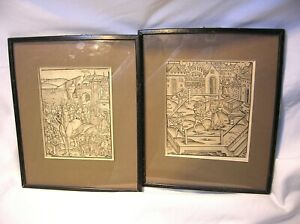 15TH C. LOT OF 2 RARE PRINTS OF GERMAN ORIGIN - EX. THE GRAVES GALLERY - FRAMED