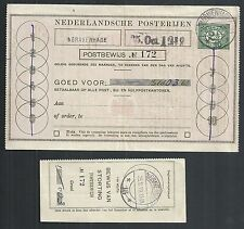 Netherlands covers 1919 2 1/2c imp Postbewijs Form The Hague