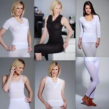 Ladies Thermal Underwear-Vest, Short /Long Sleeved, Long John- White & Black New