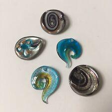 Blue Black Brown Glass Teardrop Swirl 1-In Bead Pendants Jewelry Supplies 5 Pcs