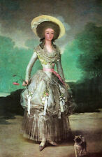 Oil painting francisco de goya - Maria Ana de Pontejos & flower dog in landscape