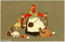 POSTCARD CHICKEN HOLDING EASTER RABBITS VIENNE M. MUNK  NUMBER 847