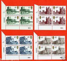 1994 Re - Engraved Castles Set of 4. SG. 1611r - 1613r blocks of 4. UNMOUNTED.