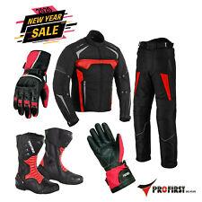 Motorcycle Riding Cordura Suits Mens Jacket Bike Boots Motorbike Leather Gloves