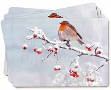 Robin on Snow Berries Branch Picture Placemats in Gift Box, AB-R23P