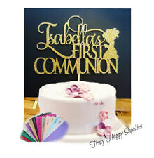 1st communion cake topper Personalised Name Girl Boy  - Baptism Glitter options