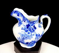 """COLONIAL POTTERY F WINKLE TOGO PATTERN ANTIQUE FLOW BLUE 4.5"""" CREAM PITCHER 1890"""