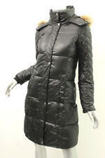 MARC NEW YORK Black Coyote Fur-Trim Quilted Coat XS $413