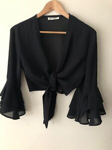 Sportsgirl 14 Black Top / Shawl Sheer With Double Frill 3/4 Sleeves