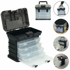 Large Fishing Tackle Box With 4 Tray Full Travel Holder Pack Handle-Locking New