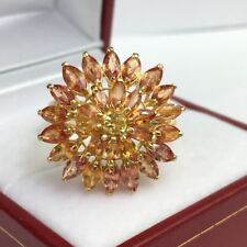 14k Solid Yellow Gold Cluster Round Ring, Natural Orange Sapphire, Sz 8. 4.37 GM