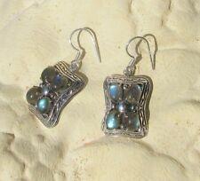 Ohrring viktorianischer Stil aus Sterling Silber 925 und Labradorit
