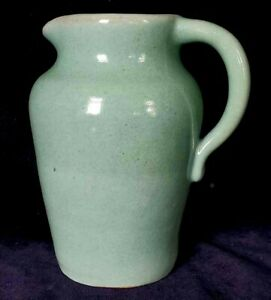 Early Pisgah Forest Pottery Hand Thrown Pitcher Light Matte Green