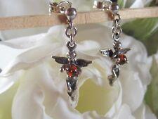 Boucles d'oreilles EN ARGENT 925 et AMBRE de la Baltique (motif anges)