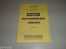 Catalogo Ricambi/Lista Parti di Ricambio Kemper Rotor-Mäher RM 165 Stato 01/1972
