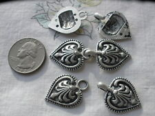 Sweater Clasps Heart Shape Hook & Loop Nordic Antique Silver/Pewter Color 3 SETS