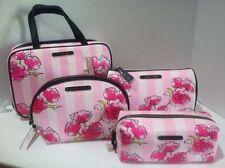 Victoria's Secret Hanging Travel Case Makeup Cosmetic Bag Pink Striped 4 Pc. Lot