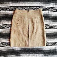 Etcetera Sz 8 Knee Length Box Pleat Straight Skirt Beige Leopard Animal Print