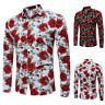 Fashion Men's Luxury Floral Stylish Slim Fit Long Sleeve Casual Dress Shirt Tops