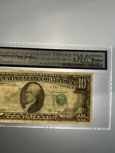 1981A $10 Dollar FRN PMG  55 Huge Misaligned  Printed Fold Error UNC!Beautiful!!