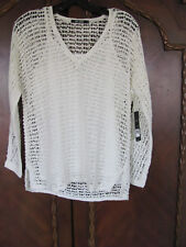 Nic+Zoe Loose Knit Crochet Pullover with Cami -Paper White- Size XS- NWT $168