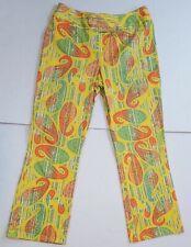 METROSTYLE Stretch Women's Size 16T Yellow Retro Paisley Wide Leg Pants EUC
