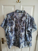 BM WOMENS GREY BLUE FLORAL SHORT SLEEVE BLOUSE SHIRT TOP SIZE 24 LENGTH 28 INCH