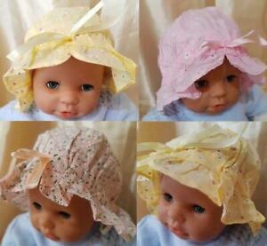 BABY FLORAL SUN HATS 0-12 MONTHS ADJUSTABLE IN SIZE