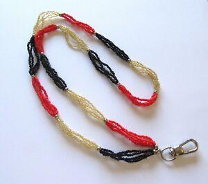 Spirit of Nature Lanyard/ID holder- seed beads orange black gold