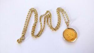 """Vintage Gold Mounted Diamond 1/10 22ct 1984 Kruggerand Coin 18"""" Chain Necklace"""