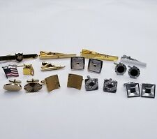 MENS VINTAGE JEWELRY LOT Plated Art Deco Style 6 Cufflink Sets 5 Tie Bars 2 Pins