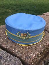 Vintage Blue & Gold Masonic 50 Years Anniversary Hat Cap D Turin Club