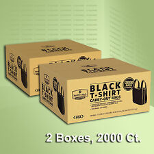 2 Boxes Black T-Shirt Carry Out Plastic Bags Recyclable Retail Grocery 2000 ct.