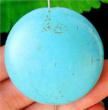 40x10mm Blue Turquoise Round Height Hole Pendant Bead BV58779