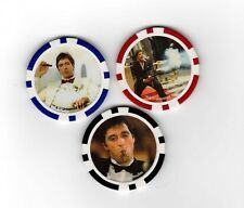 3 x SCARFACE AL PACINO TONY MONTANO LICENSED CASINO POKER CHIPS - FREEPOST
