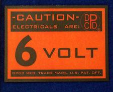 6 VOLT DPCD LOGO FIREWALL WARNING DECAL VINTAGE DODGE PLYMOUTH MOPAR STICKER TAG