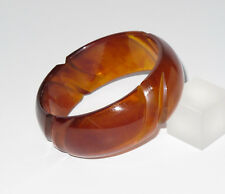 Vintage Bakelite Bracelet Bangle rare deep carved red amber marble color