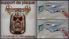 LOT Support de plaque + 2 paires de clignotants Mains de Squelette Chrome Skull
